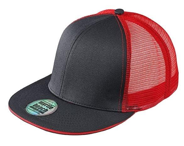 Kšiltovka s rovným kšiltem MB6635 - Černá / červená