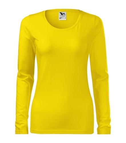 Dámské tričko s dlouhým rukávem Slim Adler - Žlutá | L