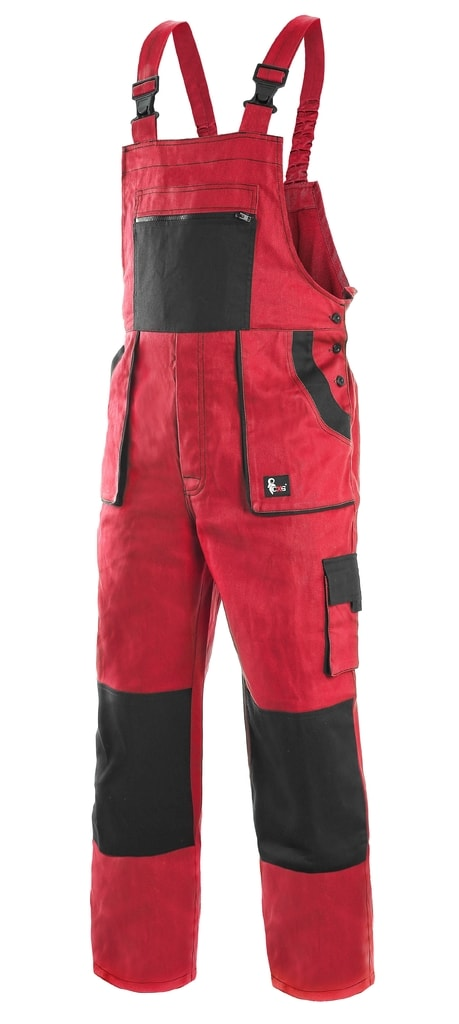 Pracovní kalhoty s laclem CXS LUXY ROBIN - Červená / černá | 56