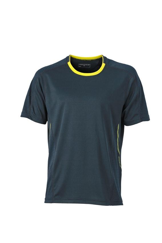 Pánské běžecké tričko JN472 - Ocelově šedá / citrónová | S