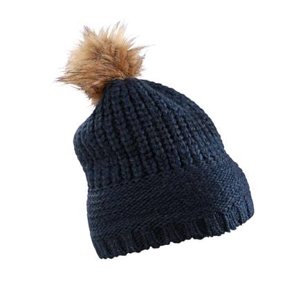 Hrubě pletená čepice s bambulí MB7975 - Tmavě modrá   uni
