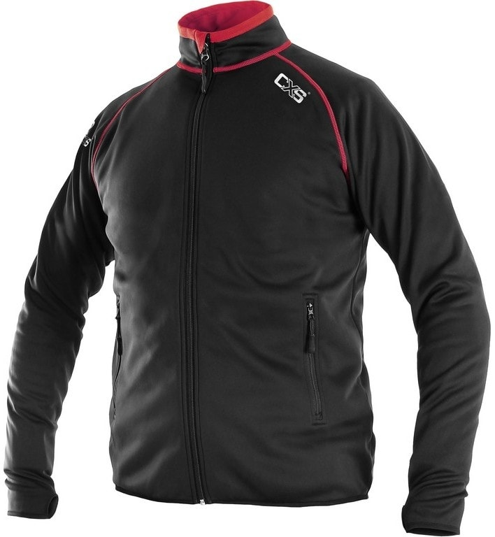 Pánská mikina na zip TORONTO - Černá / červená | L