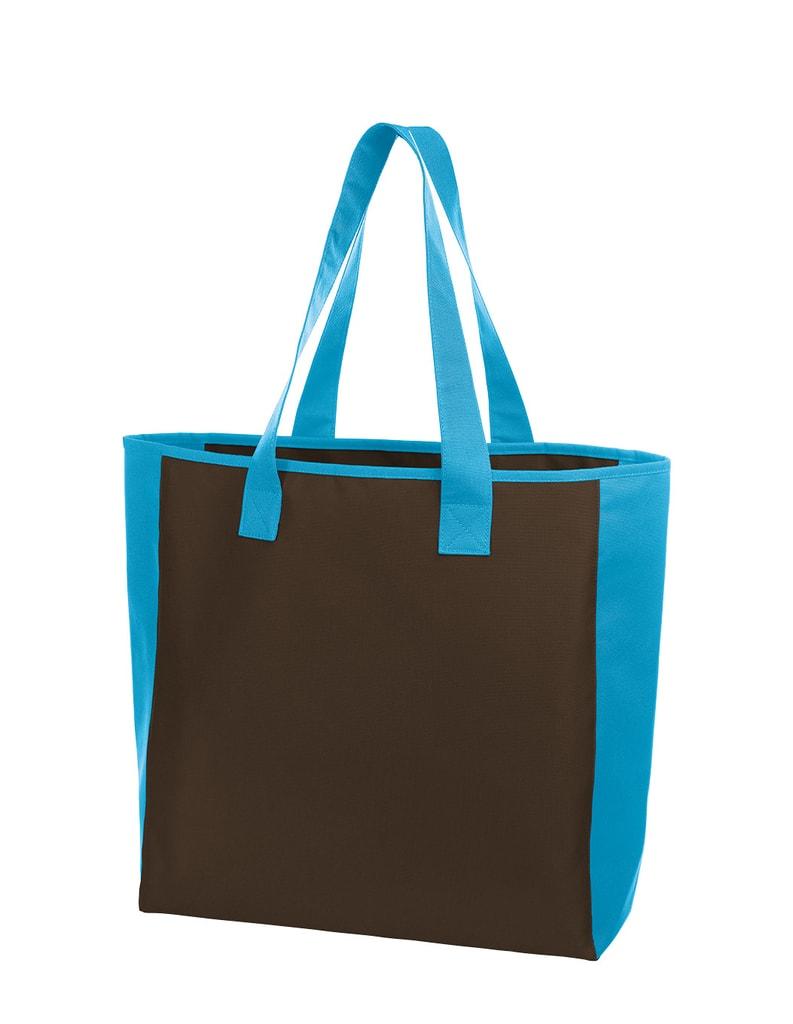 Nákupní taška OPTION - Hnědá / světle modrá