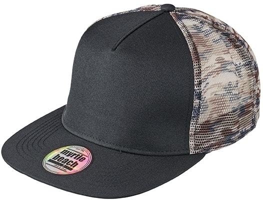 Maskáčová kšiltovka s rovným kšiltem MB6632 - Černá / maskáčová | uni