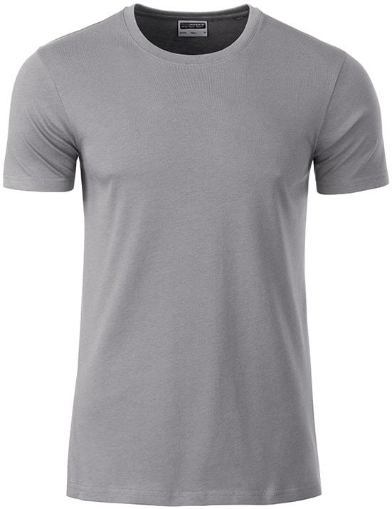 Klasické pánské tričko z biobavlny 8008 - Ocelově šedá | M
