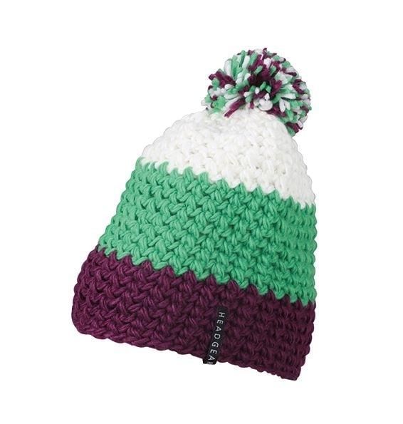 Háčkovaná zimní čepice MB7940 - Fialová / limetkově zelená / bílá | uni