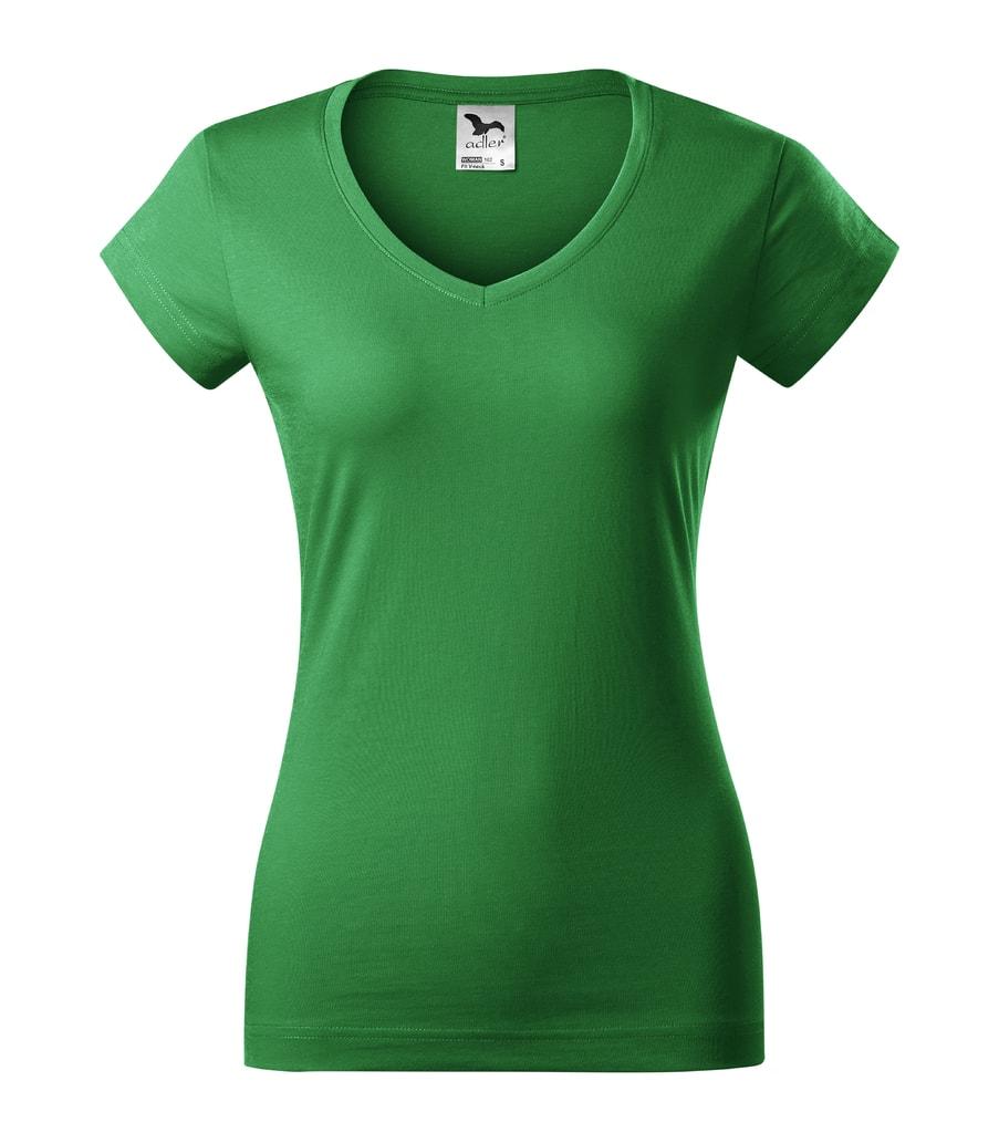 Dámské tričko Fit V-neck - Středně zelená | L