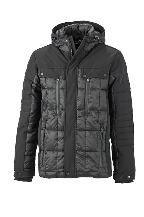 James & Nicholson Športová pánska zimná bunda JN1102 - Černá / černá | XL