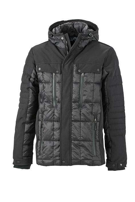 James & Nicholson Športová pánska zimná bunda JN1102 - Černá / černá | XXL