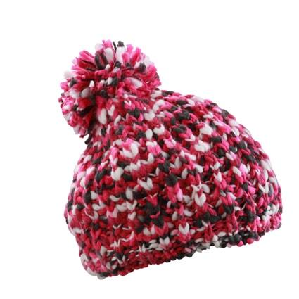 Pletená čepice s bambulí MB7977 - Růžová / šedo-bílá | uni