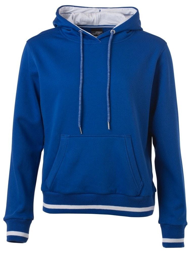 Dámská mikina s kapucí Club JN777 - Královská modrá / bílá | M