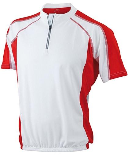 Pánské cyklistické tričko JN420 - Bílá / červená | XL