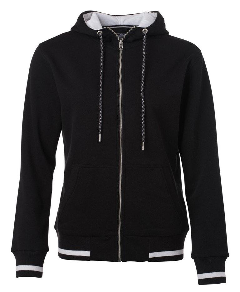 Dámská mikina na zip s kapucí Club JN775 - Černá / bílá | L