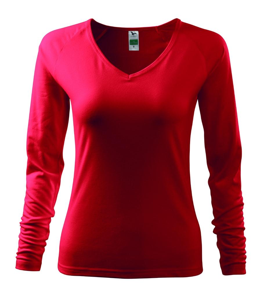 Dámské tričko s dlouhým rukávem - Červená | XXL