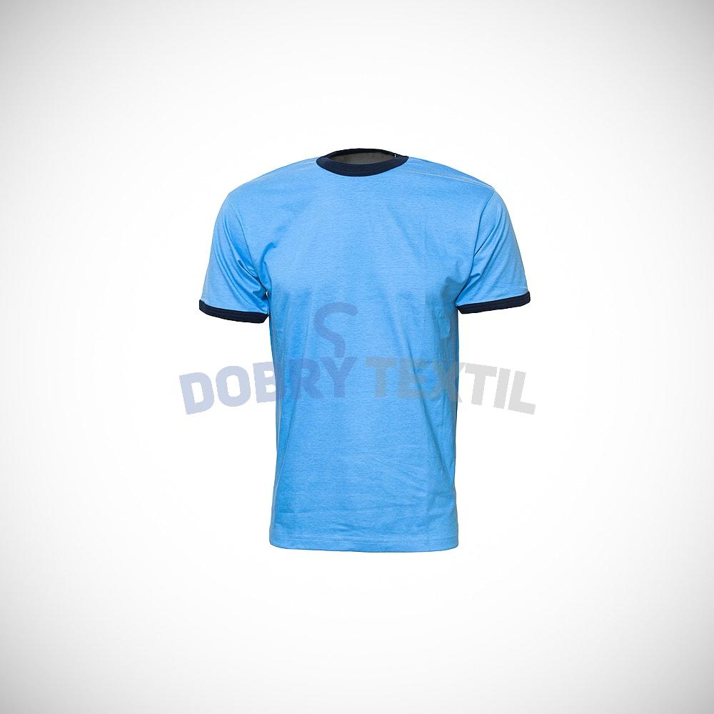 Pánské dvoubarevné tričko HIT - Světle modrá / tmavě modrá | M