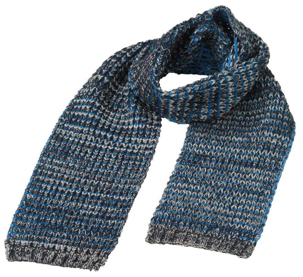 Hrubě pletená šála MB7972 - Tmavě modrý melír   azurová  c4e0223dd3