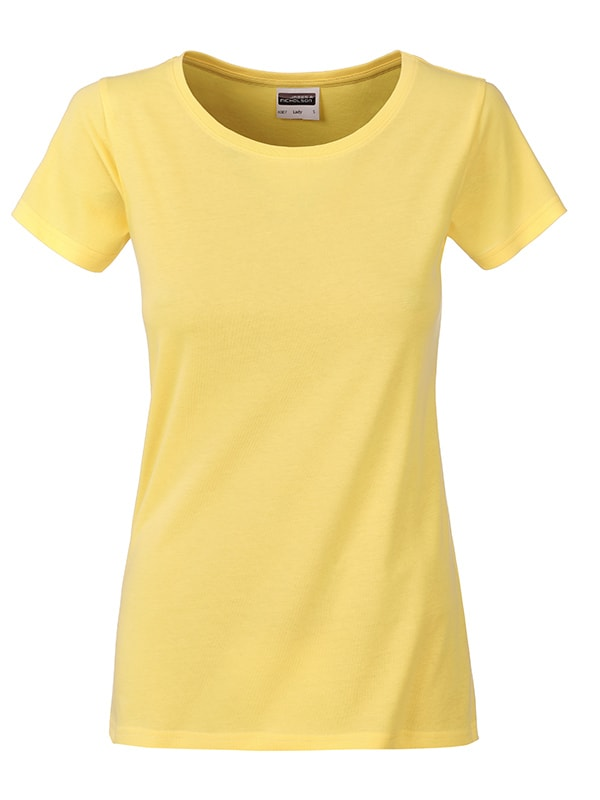 Klasické dámské tričko z biobavlny 8007 - Světle žlutá | L