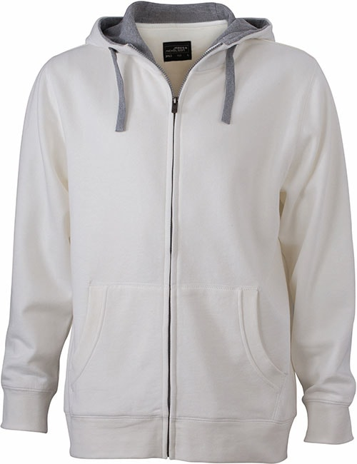 Pánská mikina na zip s kapucí JN963 - Šedo-bílá / šedá | L