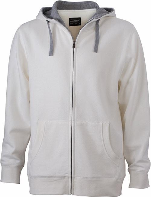 Pánská mikina na zip s kapucí JN963 - Šedo-bílá / šedá | XL