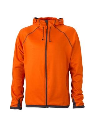 Pánská sportovní mikina na zip JN571 - Tmavě oranžová / tmavě šedá | XXXL