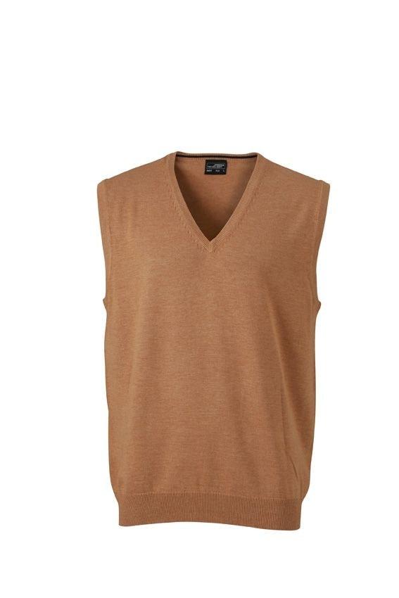 Pánský svetr bez rukávů JN657 - Camel | XXL