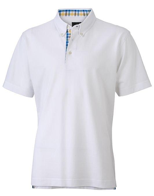 Elegantní pánská polokošile JN964 - Bílá / modro-žluto-bílá | XXXL