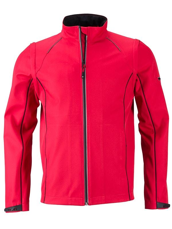 James & Nicholson Pánska softshellová bunda 2v1 JN1122 - Červená / černá | XXXL
