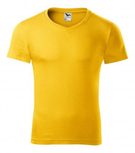 Pánské tričko slim fit V-NECK - Žlutá | XL