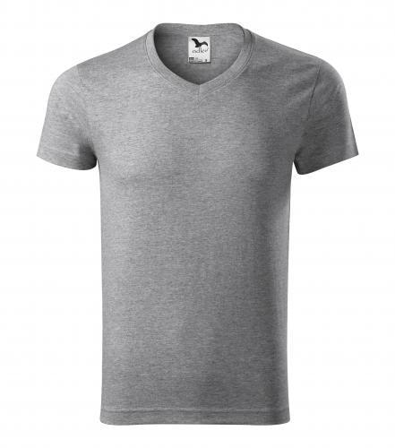 Pánské tričko slim fit V-NECK - Tmavě šedý melír | L