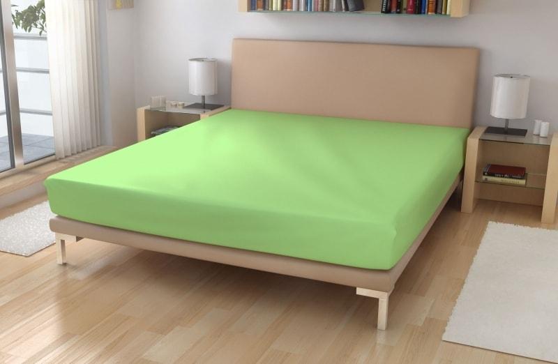 Polášek Jersey plachta s elastanom - Světle zelená | 180 x 200 cm