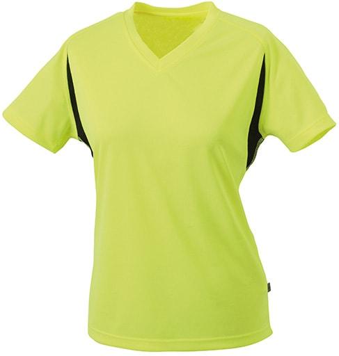 Dámské sportovní tričko s krátkým rukávem JN316 - Fluorescenční žlutá / černá | L