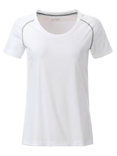 Dámské funkční tričko JN495 - Bílo-stříbrná | L