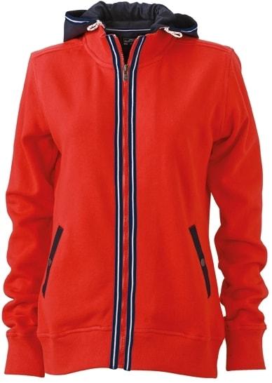 Dámská mikina s kapucí na zip JN995 - Tomato / tmavě modrá | XL