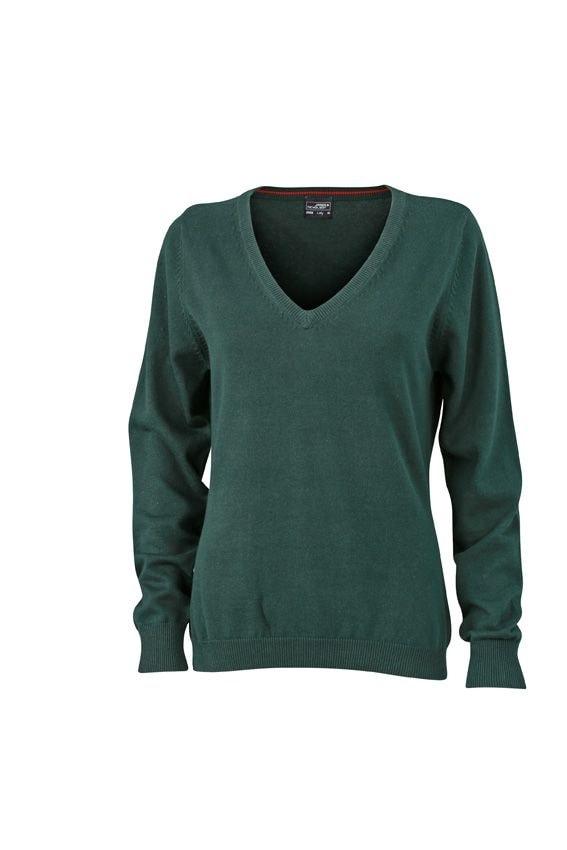 Dámský bavlněný svetr JN658 - Lesní zelená | XXL