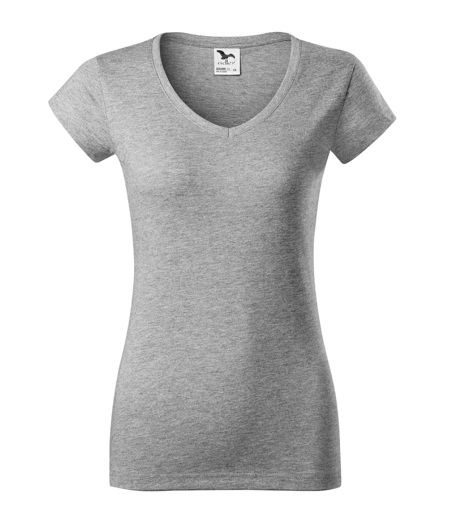 Dámské tričko Fit V-neck - Tmavě šedý melír | L