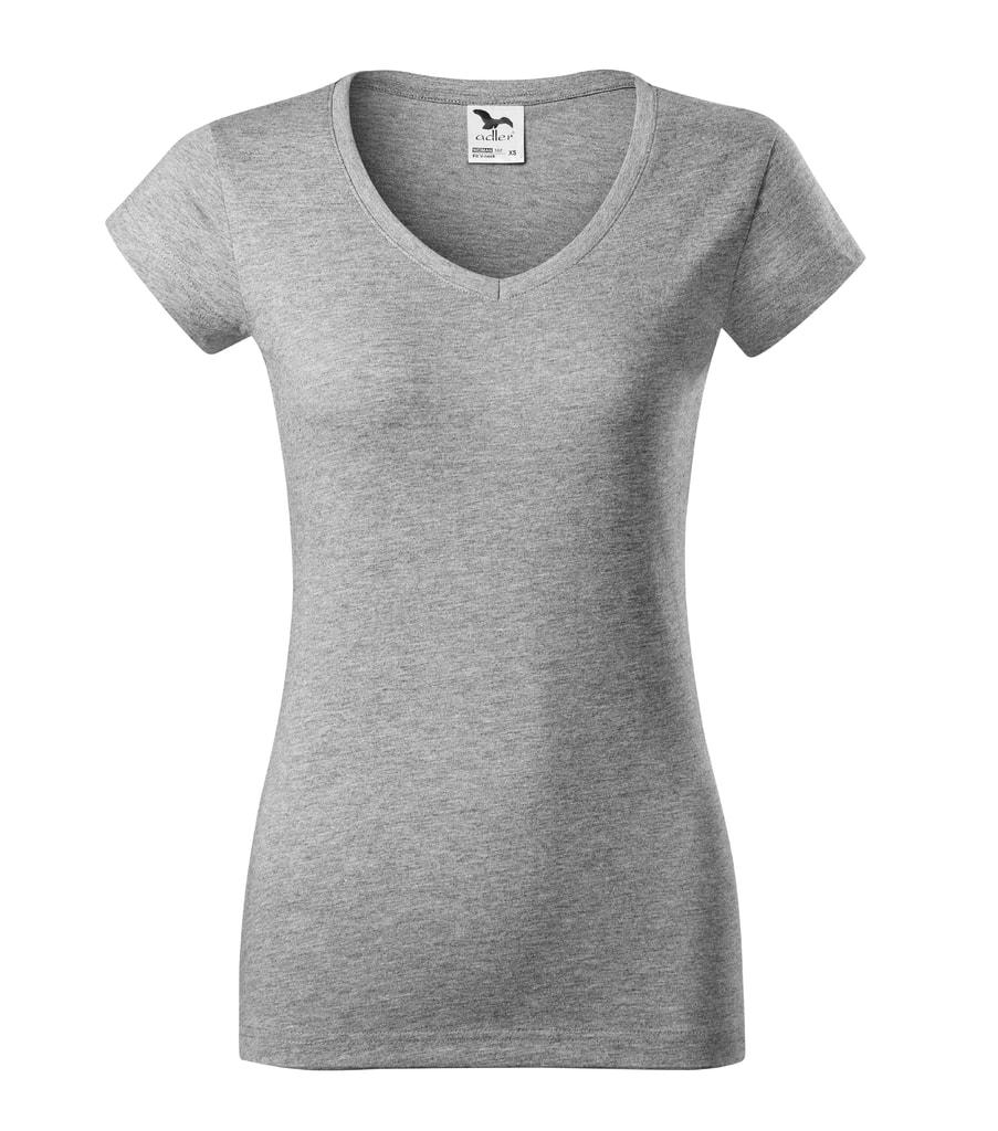 Dámské tričko slim fit V-NECK - Tmavě šedý melír | S