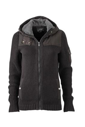 Pletená dámská bunda JN509 - Černá / tmavě šedý melír | S