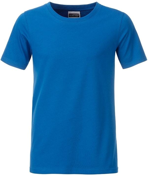 Klasické chlapecké tričko z biobavlny 8008B - Kobaltová | M