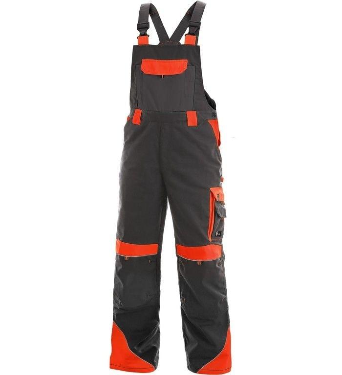 Pracovní kalhoty s laclem SIRIUS BRIGHTON - Šedá / červená   52