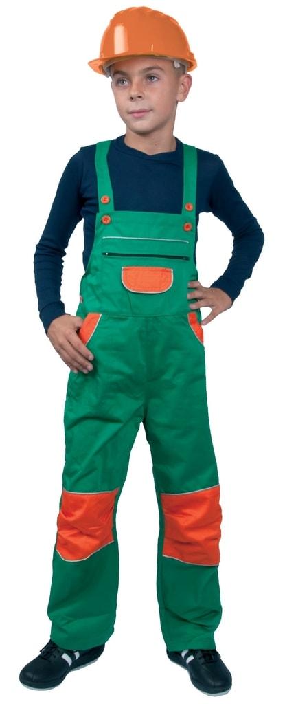 Dětské montérky s laclem PINOCCHIO - Zelená / Oranžová | 150 cm