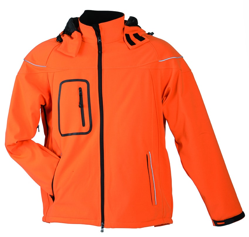 James & Nicholson Zimná pánska softshellová bunda JN1000 - Oranžová   XXL