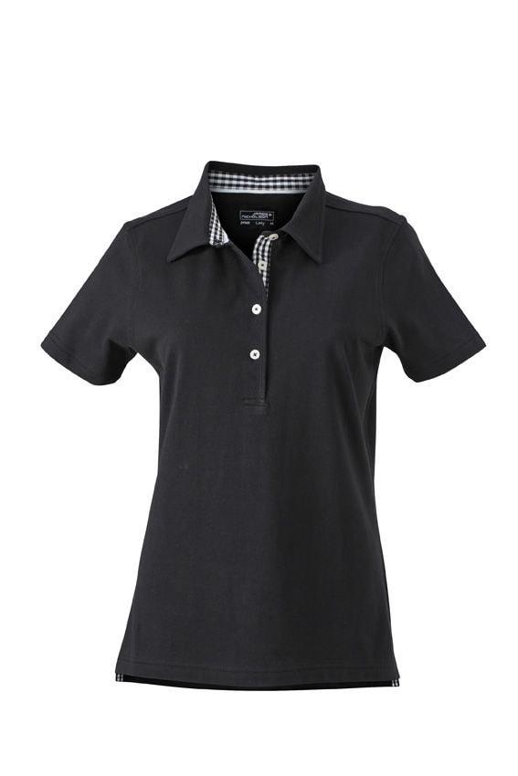 Elegantní dámská polokošile JN969 - Černá / černá / bílá | L