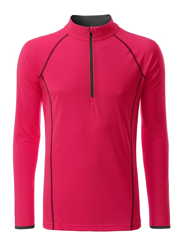 Pánské funkční tričko s dlouhým rukávem JN498 - Jasně růžová / titanová | S