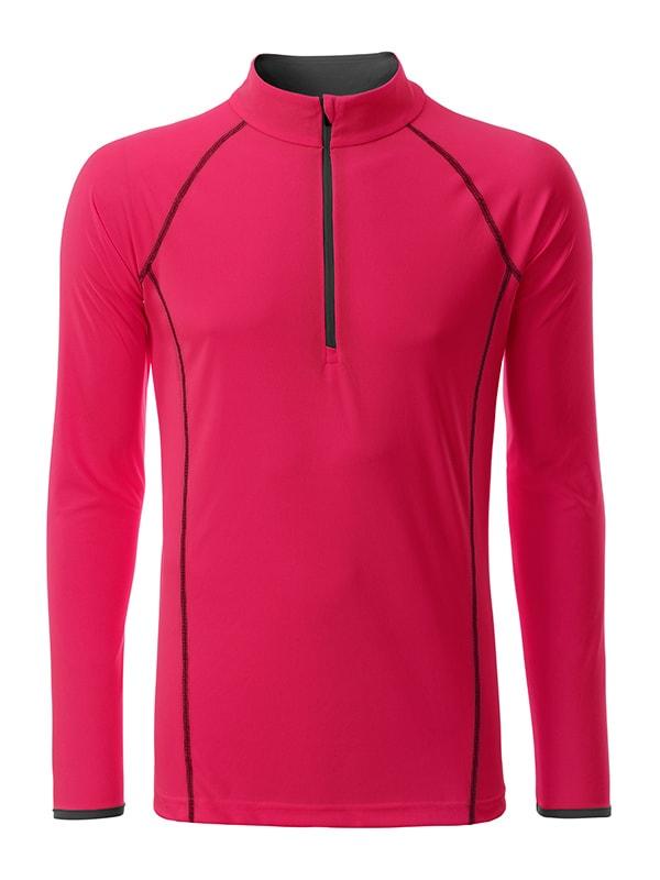 Pánské funkční tričko s dlouhým rukávem JN498 - Jasně růžová / titanová | M