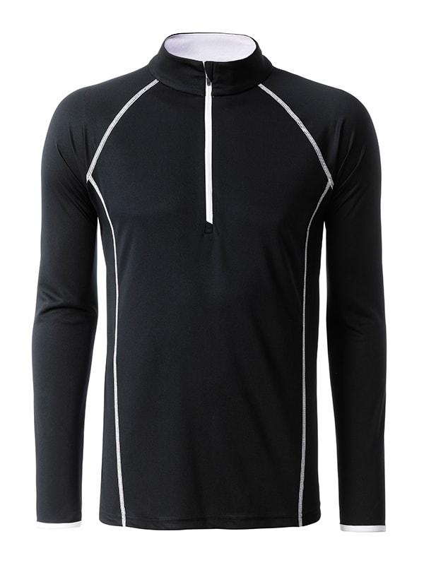 Pánské funkční tričko s dlouhým rukávem JN498 - Černá / bílá | S