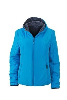 Lehká dámská oboustranná bunda JN1091 - Tmavě modrá / aqua | S