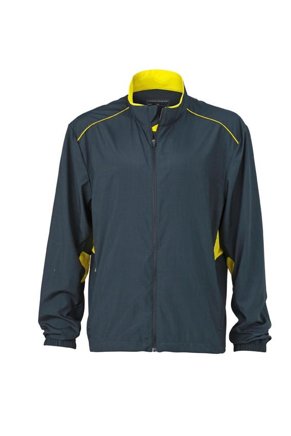Pánská běžecká bunda JN476 - Ocelově šedá / citrónová | XXL