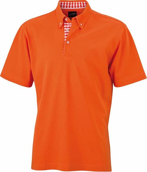 Elegantní pánská polokošile JN964 - Tmavě oranžová / tmavě oranžová / bílá | XXXL