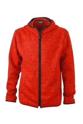 Pánská mikina s kapucí na zip JN589 - Červený melír / černá | XXXL
