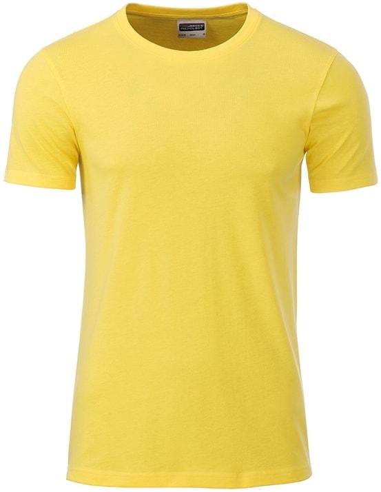 Klasické pánské tričko z biobavlny 8008 - Žlutá | M